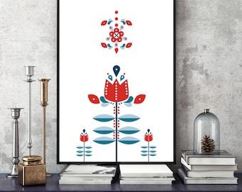 Retro Nordic Flower Folk Pattern, Mid Century Modern Art - Scandinavian Design, Modern Minimalist Wall Art, Nordic Style - Instant Download