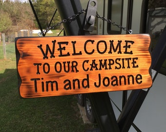 Camping Sign With Your Name #001