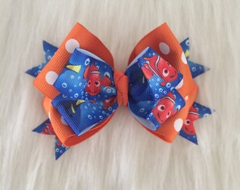 Finding Dory/Nemo Layered Bow/ Blue, Orange, and White/ Polka Dots/ Girls Bows/ Hair clips/ toddler bows