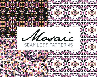 Mosaic Digital Pattern, Mosaic Pattern, Mosaic Seamless Pattern, Commercial Use, Hand Drawn, Instant Download, Tile Pattern, vector pattern
