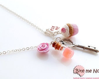 Miniature Sweets Alice in Wonderland Necklace, Mini Food Jewelry, Polymer Clay Sweets, Food Jewelry, Handmade Necklace, Kawaii Jewelry