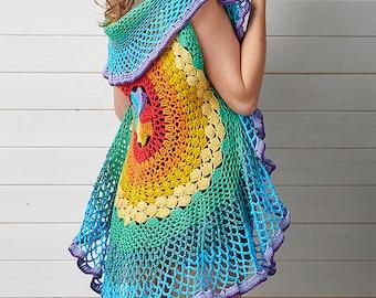 Rainbow Mandala Shawl, Crochet Pattern, Crochet Waistcoat, Instant Download, Mandala Blanket, Crochet Mandala, Colourful, Sara Huntington