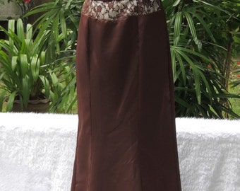 Brown Maroon Vintage Party Dress Gown Bridesmaid, Holiday, Medium Size - Large (F19)