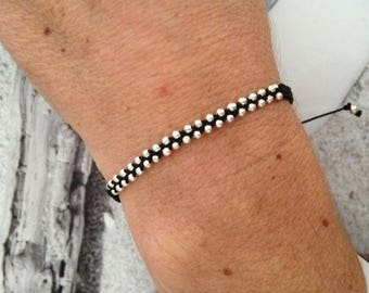 Black beaded mini macrame braided bracelet