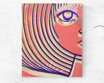 Wall art, portrait printed canvas, home decor, abstract art mid century modern wall decor, retro style screen print reproduction onto canvas