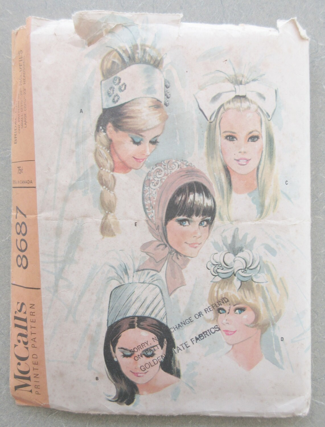 Vintage McCall\'s 8687 Sewing Pattern, 1960s Bridal Caps and Veils ...