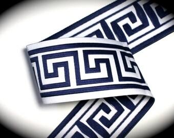 "Woven Jacquard Ribbon Greek Key Trim - 1 7/8""  Navy Blue and White"