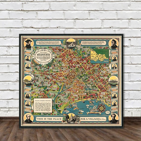 Illustrated map of melbourne melbourne map old city map gumiabroncs Gallery