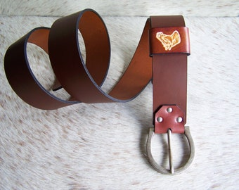 Brown leather, Horseshoe, Silver buckle belt antique collar vegetable tanned, width 4.5 cm for men and for women