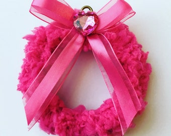 Pink Passion Ornament, Hot Pink Mini Wreath, Little Pink Wreath, Pink Christmas Decor