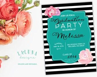 Graduation Party Invitation, Graduation Invitation, Black & White Stripe, Graduation Invite, Striped Invitation, Floral Invitaiton