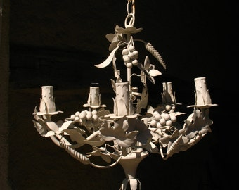 White French Tole Ware Chandelier, 1960s