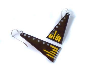 radio dial enamel earrings