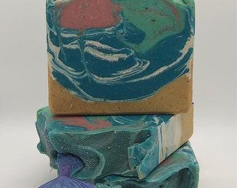 Mermaid Kisses-Cocnut Cabana-Handmade Artisan Goats Milk Soap-Cold Process Soap