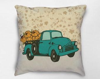 Fall Pillow, Fall Decor, Autumn Decor, Autumn Pillow, Pumpkin Truck Pillow, Halloween Pillow, Retro Truck Pillow, Fall Farmhouse Pillows