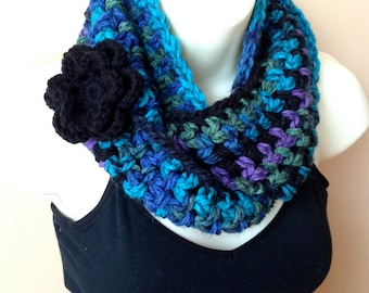 Crochet Scarf, Infinity Scarf Cowl, Multi, Blue Green Purple Black, Pick Color, Flower, Chunky Soft, Birthday Gift for Her SJE409BF5