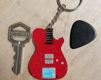 Glitterati Guitar Keychain