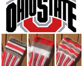 Ohio State Buckeyes inspired boot cuffs football crochet custom team