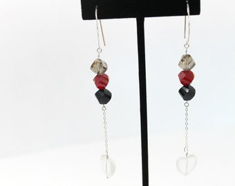 Sterling Silver Earrings with Red, Black and Grey Faceted Beads and a Dangling Opaque Heart One Of A Kind