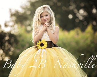 Yellow Sunflower Dress Yellow Tutu Dress Lace Dress Tulle dress Wedding Dress Birthday Dress Toddler Tutu Dress  Sunflower Girls Dress