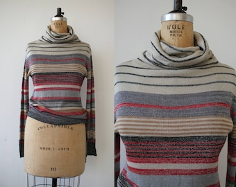 vintage 1970s sweater / 70s gray red striped sweater / 70s cowl sweater / 70s silver lurex sweater / 70s pullover sweater / small medium