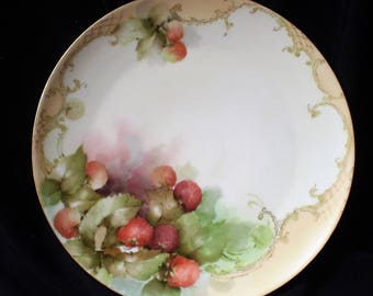 Antique Limoges France Hand Painted Porcelain Charger Plate-Crosshatch and Strawberries-1900's