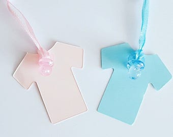 10 baby shower gender reveal vest shaped favour tags
