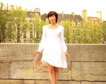 White linen Dress,Linen Tunic dress,60s Mod Dress,Long Sleeve Dress,Tuxedo Dress,Loose fit Dress,Linen Midi Dress,Women linen clothing