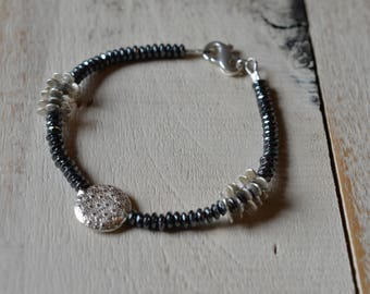 Simple Chic Faceted Hematite and Hill Tribe Silver Beaded Bracelet - All Sterling Silver