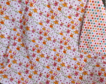 Bright Little Owls and Dots Large Crib Blanket, Baby Quilt - Pink, Orange, Lime
