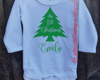 Baby's First Christmas Personalized Outfit/Baby's 1st Christmas/Shortsleeve or Longsleeve available in white only bodysuit