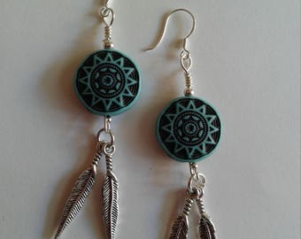 Turquoise & Feathers Sterling Silver Aztec Style Earrings