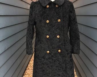1960s Faux Fur Coat // Faux Lambs Wool Coat // Faux Persian Lamb Fur Coat