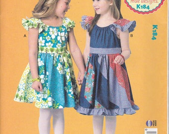 Kwik Sew 184 Girls Dress Summer Ruffle Patchwork Asymmetrical Flutter Swirly Girly Sewing Pattern Sizes 3-10 NEW