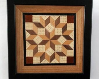 Framed Carpenter's Wheel Wood Wall Art Black  Wood Quilt Block Pattern