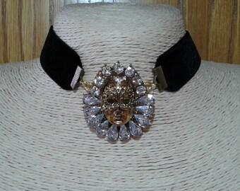 Black velvet choker, Black choker, Mask Crystal necklace, Gold necklace, Black Victorian Chokers, Black Eduardian Necklaces,Gothic choker