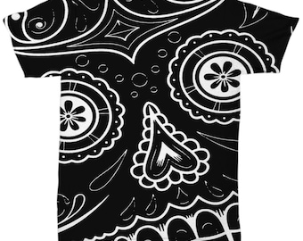 Black and White Sugar Skull All Over Print Shirt - Unique Shirts for Unique People - Festival Wear