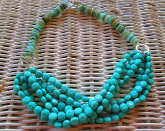 572 Womens turquoise acrylic lentil with shell handmade beaded necklace-turquoise necklace-multi strand necklace