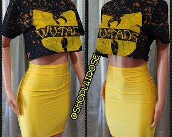 Wutang Crop Top T-shirt with Yellow Bodycon Skirt Hip-hop