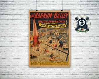 "Vintage circus poster 1895 ""Barnum & Bailey"" Greatest show on earth retro art design-art and collection"