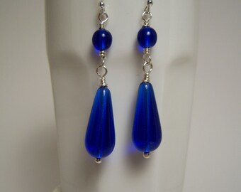 Cobalt Blue Glass Drop Earrings: Elongated Teardrops With Round Bead On Handmade Fine Silver Headpin With Sterling Ear Wires