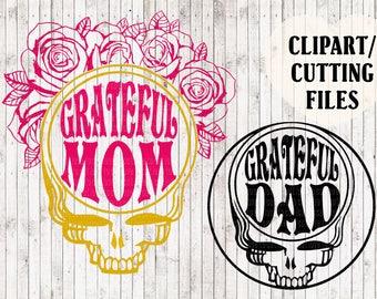 grateful mom svg, grateful dad svg, grateful dead shirt svg files, skull svg, mom life svg, dad svg, cut files, car decal svg, vector art