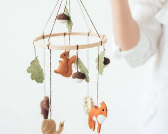 Woodland Mobile - Baby Mobile - Woodland Nursery Decor - Wool Felt Mobile - Forest Mobile - Woodland Baby Shower - Baby Shower Gift