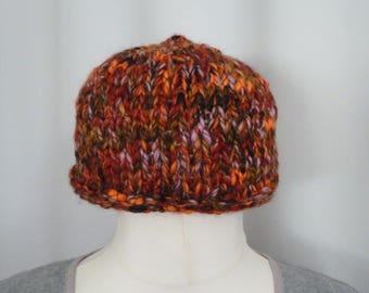 Orange chunky knitted beanie hat