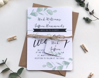 Eucalyptus Wedding Invitation Bundle Printed SAMPLE Wedding Stationery - Green Natural Foliage 5x7 Wedding Invite and A6 RSVP with tag