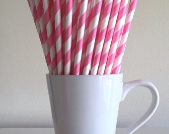 Pink Striped Paper Straws Party Supplies Party Decor Bar Cart Cake Pop Sticks Mason Jar Straws  Party Graduation