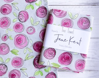 Floral Tea Towel, pink and grey flower kitchen towel.