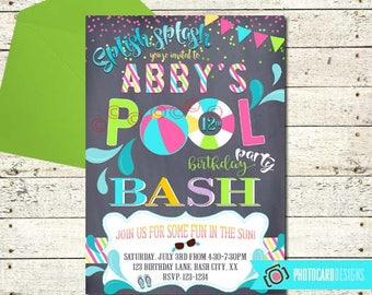Pool Birthday Invitation, Pool Party Bash, Summer Birthday, Pool Party Invitation, Swimming Party, End of Summer, Digital, invite, Party