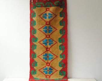 Vintage Handwoven Wool Runner, Rug, or Wall Hanging