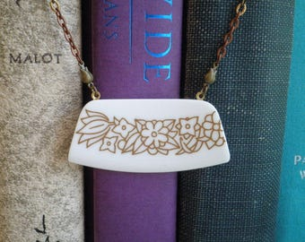 Vintage Corelle Woodland China Pattern Bib Necklace - Broken China Jewelry - Broken Plate Brown Flower Boho Bar Pendant - Retro Floral Gift
